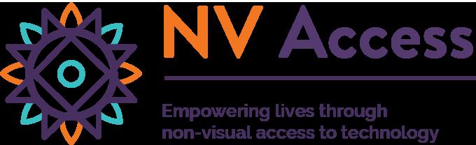 Лого на НВ Аксес каде што пишува Empowering lives through non-visual access to technology.