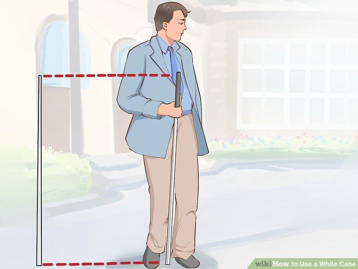Графички приказ за мерење на висината на белиот стап